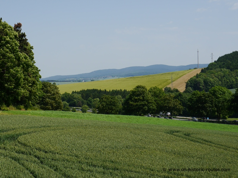 View from the Harzhorn battlefield toward the Harz mountains